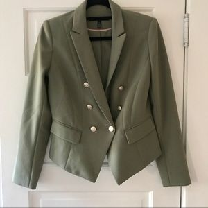 WHBM double breasted gold button blazer